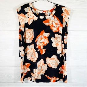 Cabi Women's M Blue W/ Orange Floral Shirt